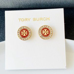 Tory Burch Red logo crystal earrings